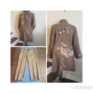 Nyagard Collection Tweed Floral Bird Coat & Pants